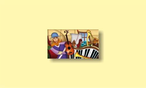 абстракция девушка картина музыкальные инструменты