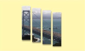 мост море Азия облака