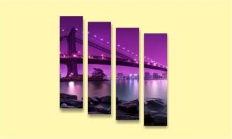 мост река сиреневый цвет ночь