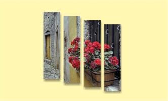 старый город двор мостовая европа цветы