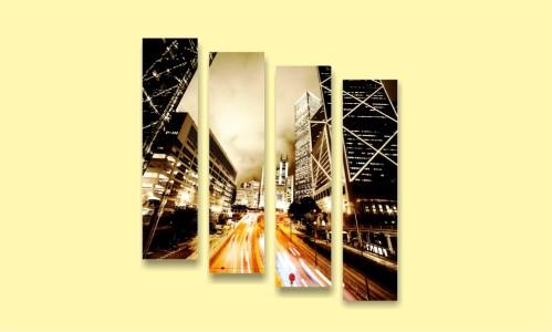 ночной город небоскребы дорога