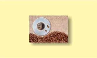 Чашка кофе зёрна холст