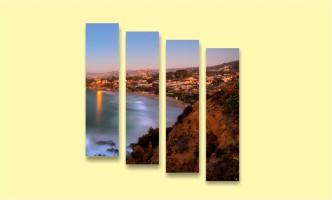 залив берег город закат