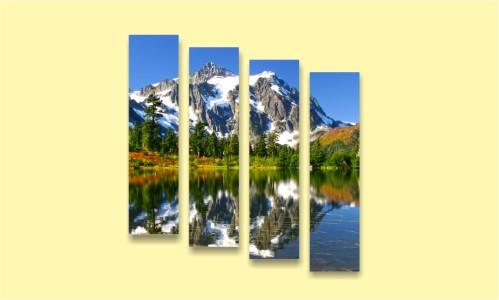 горы озеро цветы