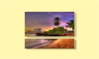 закат остров океан пальма