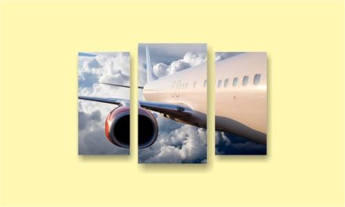 самолет крыло облака небо
