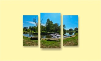 озеро деревья камни